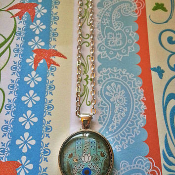 Hamsa Hand - Gold and Blue - glass dome necklace for tween or teen girl