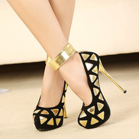 Fashion Round Closed Toe Triangle Print Stiletto High Heels Red PU Ankle Strap Pumps #W7887