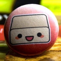 Tofu Pinback Button by Pande on Etsy