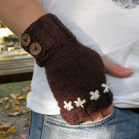 Brown fingerless gloves, knit merino wool arm warmers / wrist warmers / hand warmers in dark brown