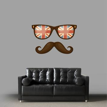 cik865 Full Color Wall hipster glasses mustache england flag hall bedroom