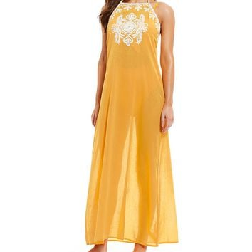 GB Solid Embroidered Maxi Dress Swimsuit Coverup | Dillard's
