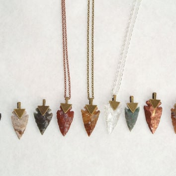 Arrowhead Necklace Flint Stone Tribal Necklace ALL Colors