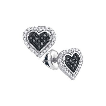 10kt White Gold Womens Round Black Colored Diamond Heart Cluster Stud Earrings 1/4 Cttw