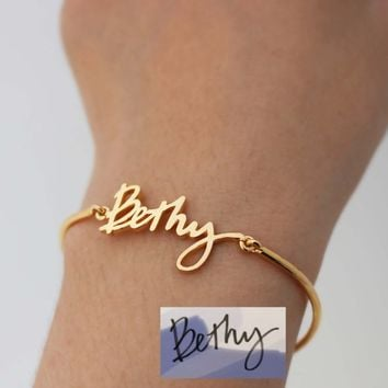 Actual Signature Bracelet - Handwriting Bracelet - Gift For Bridesmaid - Personalized Jewelry