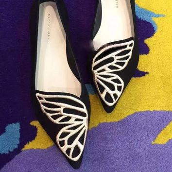 Summer Star Embroidery Butterfly Flat Pointed Toe Pregnant Shoes [4919876740]