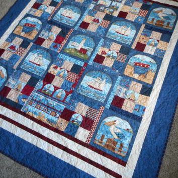 Nautical Americana Throw Quilt, Patriotic lap handmade blanket, Debbie Mumm tall ships, red white blue quilted, Schooner seagull seashore
