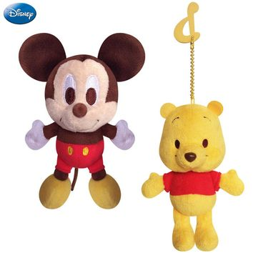 Disney Original 14cm/5.5'' Mickey Mouse Minnie Chip Winnie The Pooh Stitch Plush Toys Bag Ornament Keychain For Girlfriend Girls