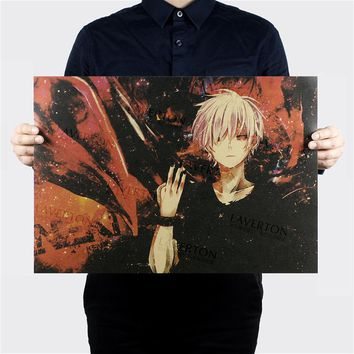 Tokyo Ghoul A Style/classic Japanese Cartoon Comic/kraft paper/bar poster/Retro Poster/decorative painting 51x35.5cm