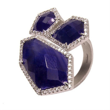 Blue Sapphire Slice Ring set in Silver with Diamond Halo