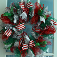 Christmas Mesh Door Wreath; red, emerald green, silver