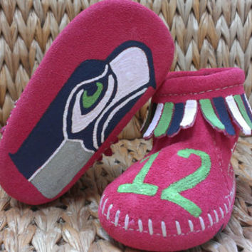 Custom PINK Seattle Seahawks Baby Moccasins for girls
