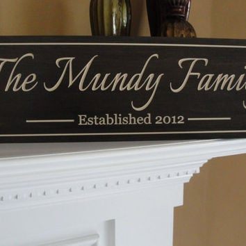 Engraved last name signs Shabby Chic Aged by michaelswoodworks