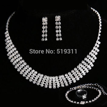 New arrival lord of rings Engagement Wedding Jewelry Sets Crystal Necklaces for Women Accessories Necklace+Earrings + bracelet