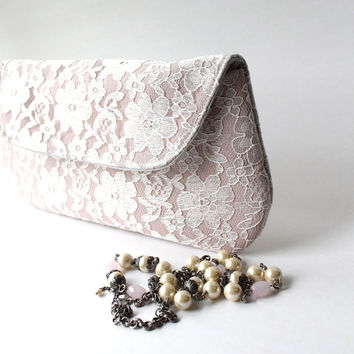 Lace Bridesmaid Clutch in Blush Pink and Ivory, Wedding Clutch Purse