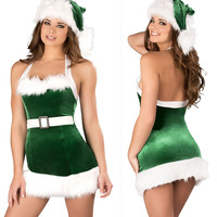 Women Sexy Christmas Cosplay Lingerie Set Female Lace Erotic Lingerie Strap Deep V-neck Sexy Babydoll Nightwear for Santa Clause