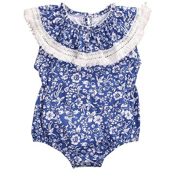 Floral Newborn Baby Girl Romper 2017 Summer blue and white porcelain Romper Kids Jumpsuit Outfits Sunsuit One Pieces