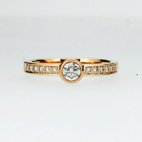 ready to ship size 4.75, Diamond solitaire engagement ring, yellow gold, diamond engagement ring, bezel, thin, unique, gold wedding ring
