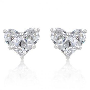 White Cz Heart Stud Earrings (pack of 1 ea)