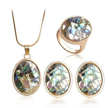 Madrry Upscale Abalone Shell Gold Color Jewelry Sets Necklace Earrings Ring New Design Wedding Jewelry Sets French Hooks Brincos
