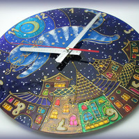 """Hand Painted Wall Clock """"The Moon Cat""""  Home Decor for Children Baby Kid Boy Girl Nursery"""