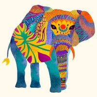 Poster Print 11x14 - Whimsical Elephant  - For Your Home Decor