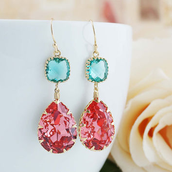 Rose Peach with Blue Zircon Swarovski Crystal GOLD FILLED Dangle Earrings Christmas gift Coral Weddings Bridesmaid Jewelry Bridesmaid Gift
