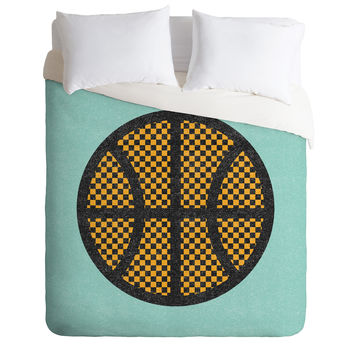 Nick Nelson Op Art Basketball Duvet Cover