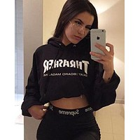Thrasher Popular Women Letter Print Long Sleeve Hoodie Crop Top Sweater Pullover Top