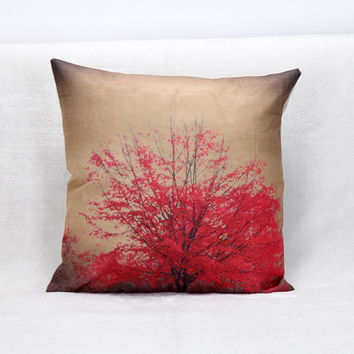 Vintage Printed Pillow Case Red Flowers Cushion Cotton Linen Cover Square 45X45CM