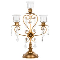Vintage 3 Light Crystal-Draped Metal Candelabra Centerpiece (Gold)