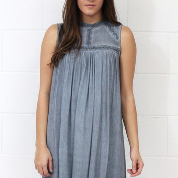 Mineral Washed + Lace Trimmed Tank Shift Dress {Grey}