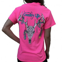 Country Life Outfitters Feather Deer Skull Pink T-Shirt