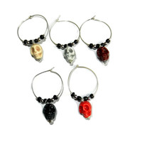 Halloween Skull Wine Charms, Set of 5