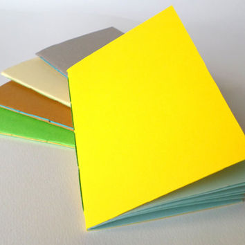 Simple yellow handmade notebook with soft covers and 40 light blue, blank pages, green, brown, creamy, grey, 4 x 5.8 inches