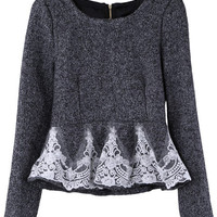 Lace Lower Dark Grey Woolen Blouse