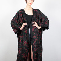 Vintage Black Red Kimono Jacket Maxi Duster Jacket Cherry Blossom Print Draped Robe Jacket Hippie Asian Festival Jacket L Extra Large XL XXL