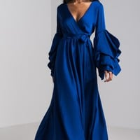 AKIRA Wrap Front Ruffle Bishop Sleeve Silky Maxi Gown in Midnight Blue
