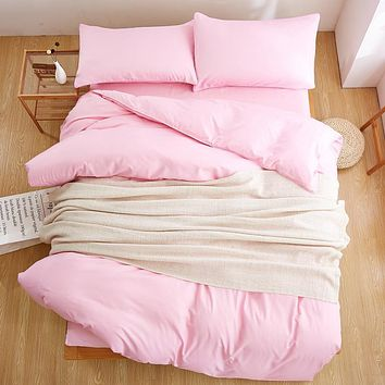 Assorted Solid Color 4 Pcs Bedding Set Microfiber Bed Linens Sheet Set