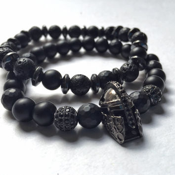 set for men, Black matt onix, black faceted matt round onix, hematite,black lava natural stone beads,gunmetal helmet with black rhinestones