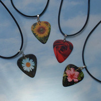 Leather Necklace - Summer Flowers Guitar Pick Jewelry - Daisy, Hibiscus, Rose or Sunflower - Custom Style & Size