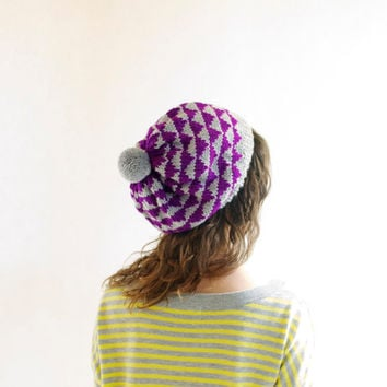 Women's Knit Hat - Geometric Triangles - Knit Slouchy with Pom Pom - Fuchsia & Light Grey