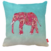 Pink Elephant Pillow Cover Teal Cheap Decorative Pillows Boho Decorative Throw Pillows 18x18