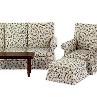 Miniature Living Room or Sitting Room Set with Fabric Covered Couch, Chair, Ottoman, Wood Tables, assembled