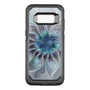 Flourish Abstract Modern Fractal Flower With Blue OtterBox Commuter Samsung Galaxy S8 Case