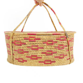 Vintage Coiled Basket -- Large Basket with Lid and Handles -- Mexican Indian Basket -- Boho Decor -- Round Oval Woven Lidded Storage Basket