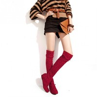 Stretch Suede Over The Knee Chunky Heel Sexy Slim Thigh High Boots