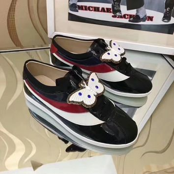 Black GUCCI Women Trending Fashion Leather Casual Sneakers Sports Shoes