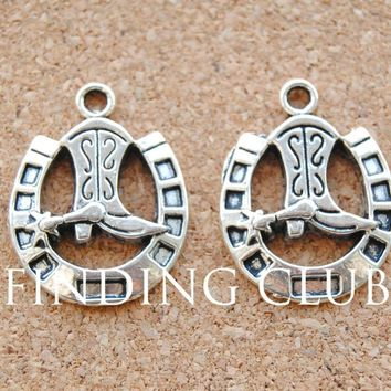 15 pcs Antique Silver Cowboy boot and horseshoe pendants