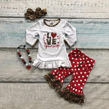 "4PC ""Love Yourself"" Little Girl's Valentine's Day Outfit Leopard Trim"